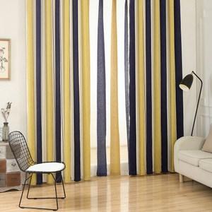 【三房兩廳】現代北歐風格雪尼爾條紋窗簾300x210(黃藍條紋)