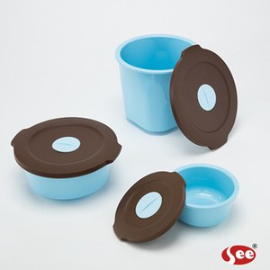 【S.E.E.】Breere會呼吸的保鮮盒圓形三件禮盒套組(海洋藍)