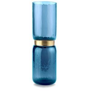 巧藝金屬環造型玻璃花器 藍