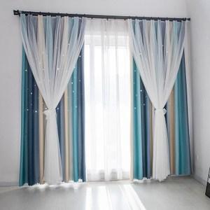 【三房兩廳】莫蘭迪雙層遮光窗簾(藍灰150x210cm)一片式