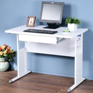 Homelike 巧思辦公桌-加厚桌面100cm(抽屜)桌面:白/桌腳:灰/飾板:灰