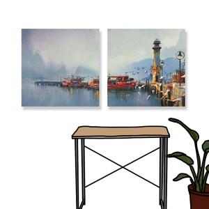 【24mama 掛畫】二聯式 油畫布 無框畫 30x30cm-漁船港口油畫布無時鐘