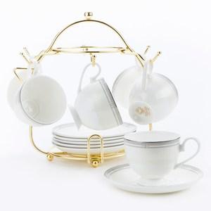 雅典骨瓷六杯盤附金架