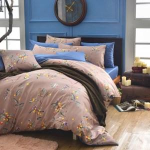 MONTAGUT公爵的金桔茶-260織精梳棉-兩用被床包組(咖啡-加大