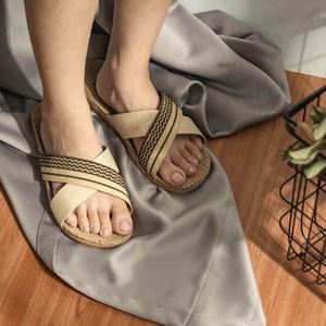 樂嫚妮 亞麻拖鞋 室內外居家拖鞋-男亞麻拖交叉黑44-45