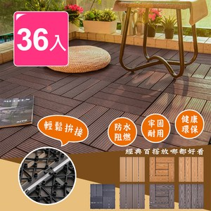 【Meric Garden】環保防水防腐拼接塑木地板36入/組(七款)直條紋仿實木深棕色