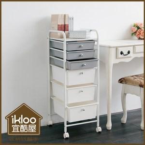 【ikloo】可移式萬用3大3小六層收納抽屜車