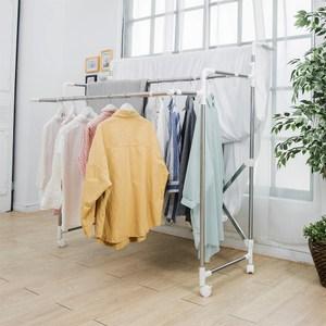 【H&R安室家】不鏽鋼多功能三桿伸縮曬衣架