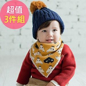 Q版寶寶可愛秋冬保暖三角加絨圍巾 口水巾(3件組)-黃x2+綠x1