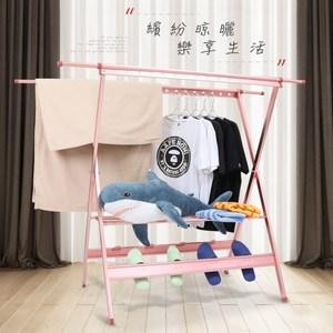 【IDEA】2米經典鋁合金X型多功能伸縮折疊曬衣架(高承重/防水抗曬)玫瑰金