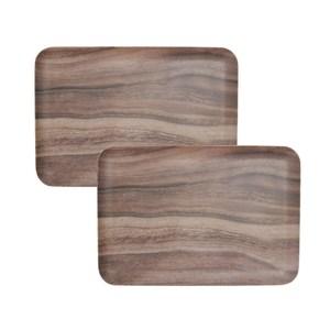 (組)HOLA 曼蒂美耐皿托盤32cm木紋2入