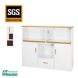 IHouse-防水防潮塑鋼1抽2門2拖盤4尺電器櫃白