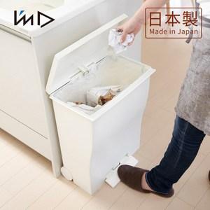 【日本岩谷Iwatani】曲線寬型可分類腳踏垃圾桶(附輪)-39L白