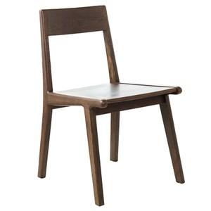 原木日式半島紅橡木實木餐椅-原木坐面-兩入組