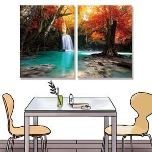 【24mama 掛畫】二聯式油畫布無框畫 30x40cm-森林瀑布03油畫布無時鐘
