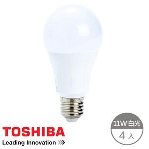 (組)Toshiba 11W 廣角 LED燈泡 晝光色-4顆