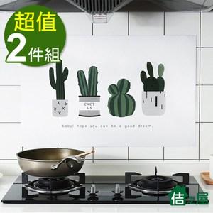 【佶之屋】北歐風印花 廚房DIY自黏防油壁貼45x75cm(2件組)仙人掌x2