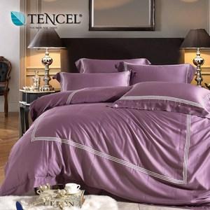 60支刺繡素色萊賽爾天絲兩用被床包組 時尚款江戶紫(雙人)