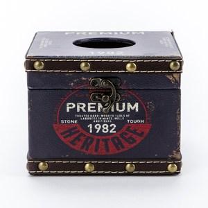 莫爾復古方形面纸盒 藍