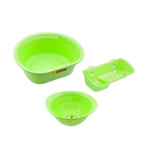 (組)Richell  洗滌萬用三件組-瀝水籃,洗滌盆,菜瓜布架(綠)