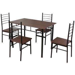 【RICHOME】席拉餐桌椅組-1桌4椅胡桃木色