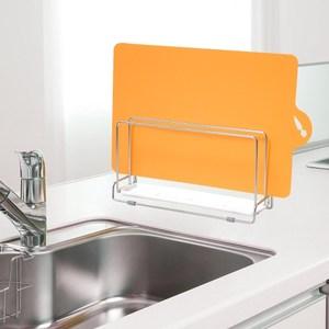 日本LEC不鏽鋼雙層砧板架+可彎曲薄砧板(橘色)1片