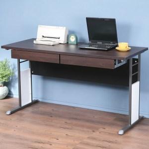 Homelike 巧思辦公桌-加厚桌面140cm(附抽屜)桌面:胡桃/桌腳:炫灰/飾板:灰