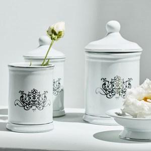 MATHILDE M.白瓷銀紋盛物器皿-置物罐(小) /潄口杯