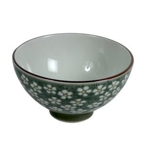 日本美濃燒飯碗S春梅綠
