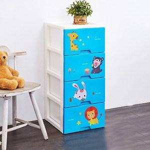 動物園四層收納置物櫃(單層26L)-DIY-粉藍