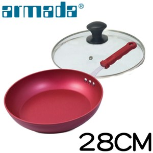 【armada】 阿曼達酷炫不沾平底鍋魅力紅28cm(送鍋蓋、鍋鏟)