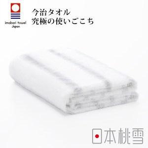 日本桃雪【今治輕柔橫條浴巾】寧靜灰