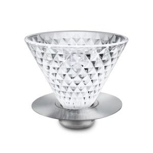 Driver鑽石玻璃濾杯咖啡濾杯2-4cup可搭配不鏽鋼濾紙