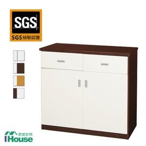 IHouse-防水防潮塑鋼2抽2門碗盤櫃白