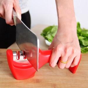 【PUSH!廚房用品】304不鏽鋼三槽陶瓷金剛石磨刀器(紅色)D104