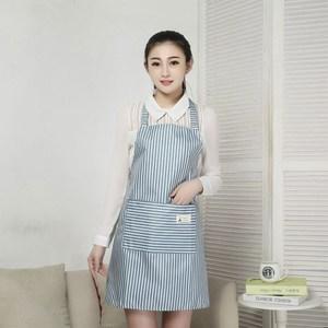 【三房兩廳】時尚袖套防水圍裙/工作圍裙 (藍色2件)