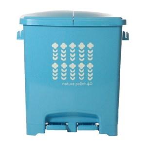 【this-this】踩踏式二分類垃圾桶40L-水藍色