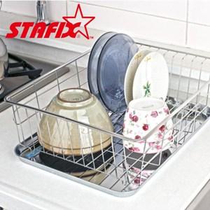 【韓國原裝進口STAFIX】不銹鋼單層碗盤瀝水架A41.2X35X22CM