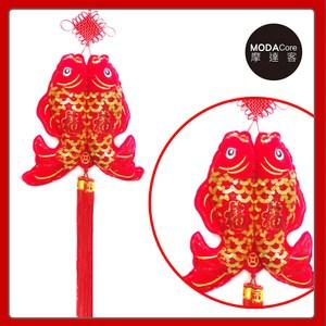 【摩達客】農曆春節新年元宵 絨金刺繡亮片#35雙魚流蘇吊飾掛飾