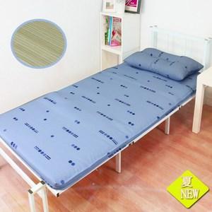 【KOTAS】碧翠絲冬夏竹面防潑水床墊-單~送記憶枕x1(靚藍 )