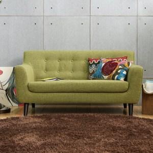 【MODERN DECO】艾柏日式拉釦造型雙人布沙發綠色