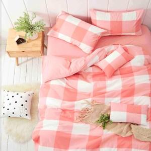 TRONlife好床生活 水洗純棉四件式兩用被床包組 珊瑚粉雙人