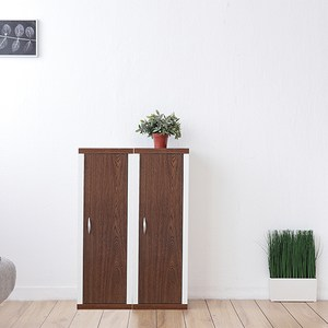 兩個一組【Accessco】日系雙色三格一門厚板收納書櫃(胡桃白)