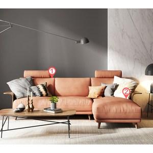 林氏木業北歐輕奢荷蘭絨移動頭枕L型三人布沙發(附抱枕)RAV1K-銅譚棕