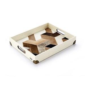 【Finara】獨創設計商品-巴西牛皮馬賽克托盤 雅頓珍珠白-巴黎