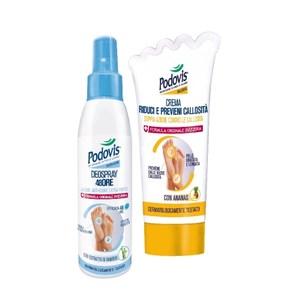 義大利原裝進口PODOVIS老繭乳液60ml+除臭噴劑100ml組合