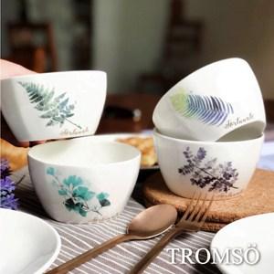 TROMSO手繪小清新綠葉陶瓷碗四入組