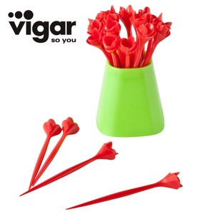 Just Home買一送一Vigar玫瑰花造型水果叉20入附收納盒