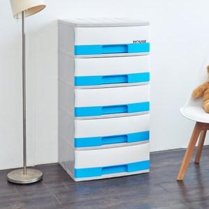 超大時尚五層收納櫃(30L*5層)-粉藍