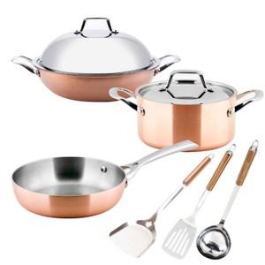 (組)LASSAN蘿莎不鏽鋼炒鍋六件組